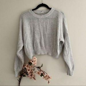Garage crop knit sweater light gray